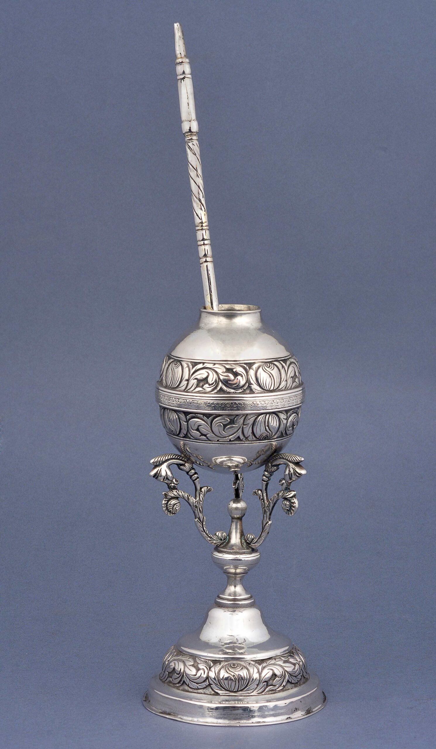 SILVER MATE CUP WITH STRAW